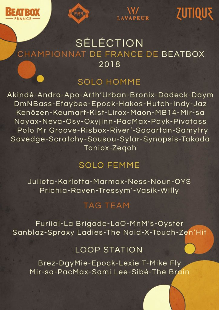 Liste des qualifiés au championnat de France de human beatbox 2018
